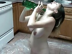 Pregnant girl makes a mess in the kitchen