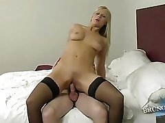 Tight ass pale blode im stocking and high heels gets nailed in bedroom