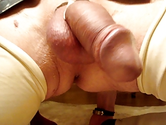 MY EX-HUSBAND IN LATEX STOCKINGS PRESENTS HIS DROOPY PENIS