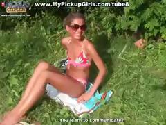 Amateur blonde chick gets paid to screw a stranger outdoors by the lake