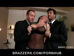 Nasty brunette Tory Lane is busted with toys and gets her face fucked hard in a gangbang