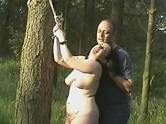 Chubby whore gets poison ivy on her nipples and pussy while she is...