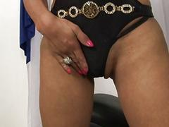 Horny busty blonde shemale plays with her hard cum shooter