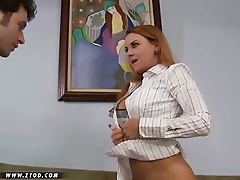Janet Mason is a lusty milf with a hunger for cock that can't be beat.  She loves getting her mouth filled with a guy's salami and her warm