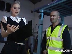 Bitch boss Angel Long shows her cock skills