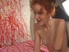 Incredible skinny redheaded babe rides cock