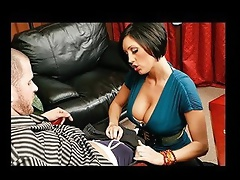Scott is playing in a high stakes poker game against his boss. When the boss' wife, Dylan, comes in to watch the game this babe catches Scott che