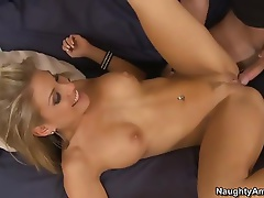 Sweet college girl Aubrey Addams  with lovely tits and shaved pussy meets her friend's brother Kris Slater. She's curious about his big cock