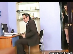 Legal Age Teenager coed went to her teacher and saw him rubbing his knob right in the office. Gizelle wanted to have that rod in her cunt.