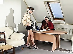 Randy secretary teasing her boss with her fancy tights aching for fucking