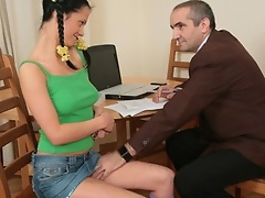 Horny old tutor tricks cute dark brown coed into having sex with him and enjoys her constricted snatch in the doggy style