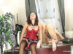 Well-equipped sec shows her boss what real strap-on arse-screwing means