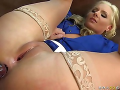 Big racked blonde teacher Phoenix Marie in sheer nylons does it with her student James Deen. Smooth snatch blonde Phoenix Marie lifts her legs up to r