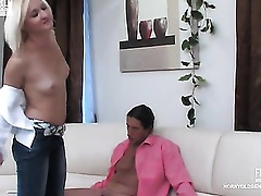 Golden-Haired secretary giving head and widening shaved cookie for her older boss