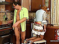 French maid makes passes at her older boss engulfing and jumping on pecker