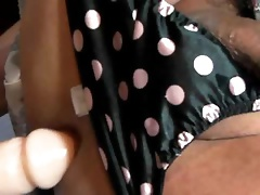 Guy in satin panties jerks off and toys ass