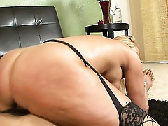 Watch Mellanie Monroe grit her teeth as her ebon chap toy squeeze his monster penis inside her taut and dripping wet snatch.  After lubing her up with