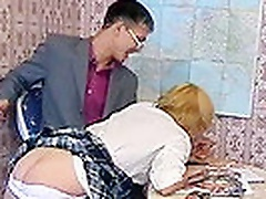 A naughty student just cant stop hereslf loking at erotic playing cards ..teacher catches her and starts to give her a spanking ...panties come down a