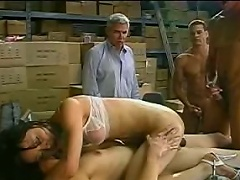 Three horny gangsters have captured a nasty Asian shemale whore and...