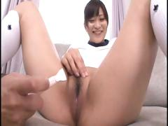 Young Japanese schoolgirl gets her hairy pussy shaved and vibrated