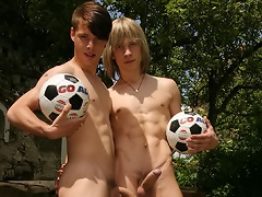 Two young soccer player suck and fuck on the green grass!...