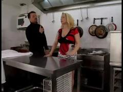 Chubby mature blonde has a cock on fire in the kitchen so she uses her wet mouth to put it out