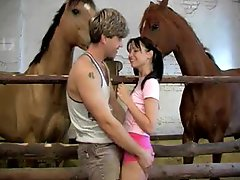 Hardcore Anal Sex With Sndy Joy In The Stables With Horses Watching