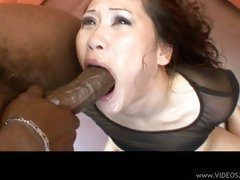 Jessica Bangkok gets a huge black cock rammed tight down her asian throat