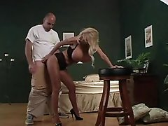 She wears pantyhose and teases him well