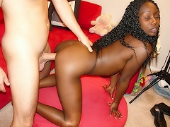 Ebony girl suck and fucks while waiting to get filled w cum...
