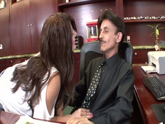 Cute babe fucked hard by the old dude
