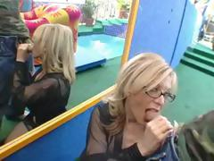 Blonde porn queen Nina Hartley eats his cock and gets banged hard