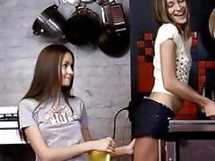 Stunning brunette lesbians licking and fingering pussy and having lesbian love