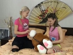 Girls with toys featuring pussy loving teen lesbians playing cunt