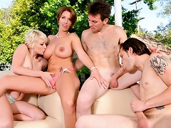Bisexual Group Sex! Watch 2 Couples Fucking In The Backyard!...