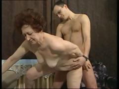 German brunette granny gets a younger cock to fuck her hardcore